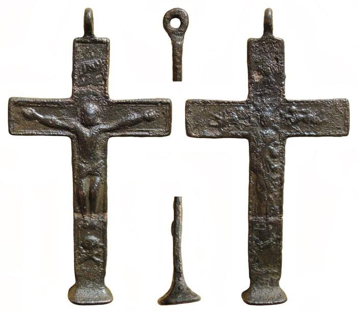 Crucifijo bifaz con base patada, Inmaculada. S-XVIII - MR(065) CC-010- [Pec028/S-XVIII]* ZLd6Zr