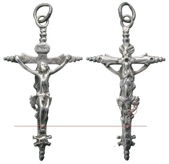 CC094 – Crucifijo pectoral bifaz S-XVII - Decoración vegetal * Dk7LNa