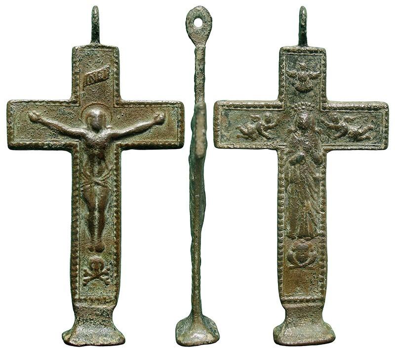 Crucifijo bifaz con base patada - CC131, [Pec039/S-XVIII] IEduDd