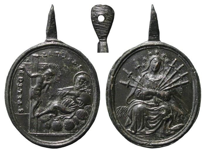 San Peregrino Laziosi / Virgen Dolorosa Siete Espadas– MR(177)- (R.M. SXVIII-356) Ubs4H6