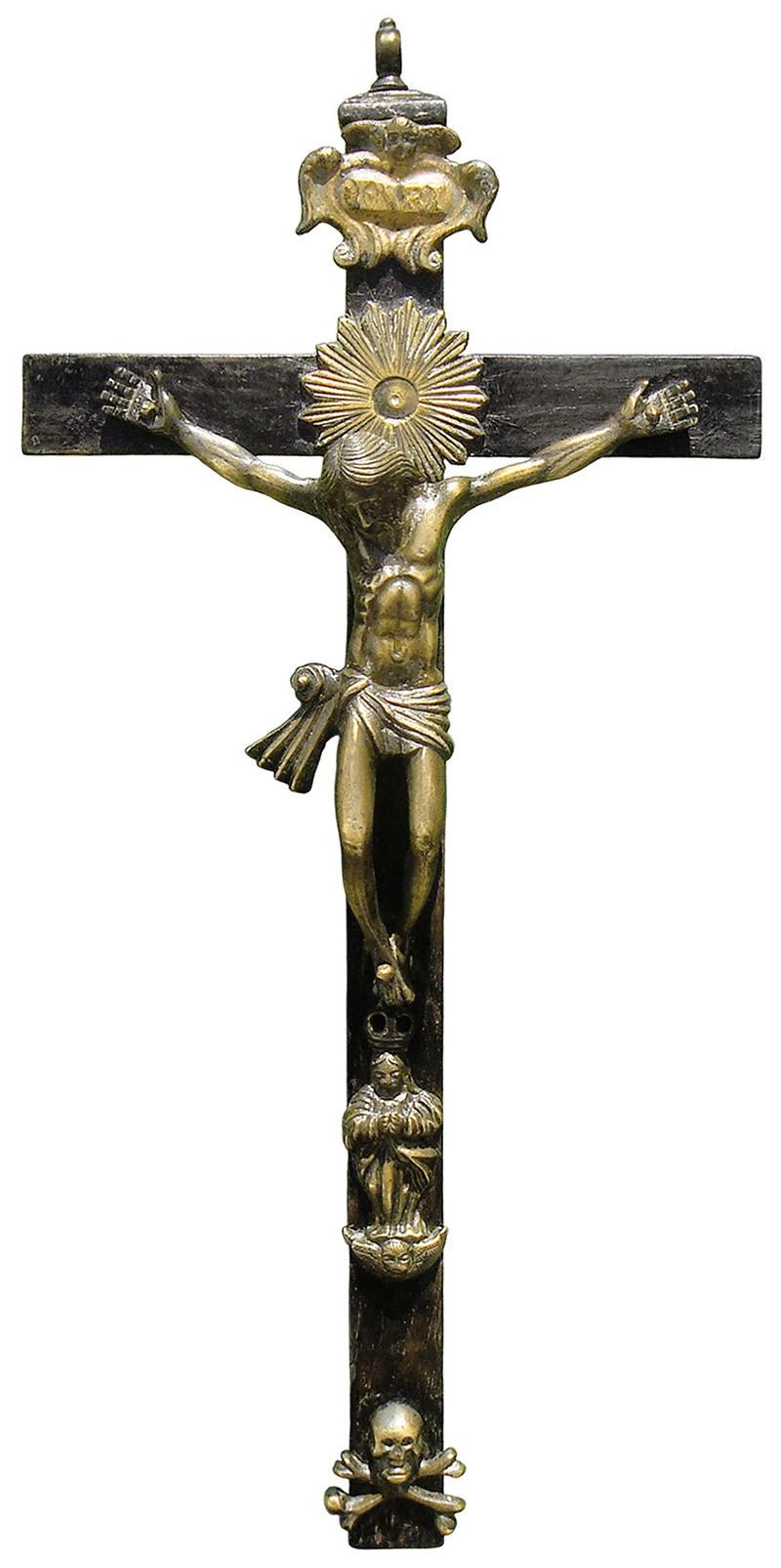 Crucifijo grande de madera y bronce - OO046 Zjre5h