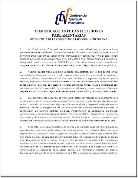 Conferencia Episcopal Venezolana pide a la oposición participar en las elecciones parlamentarias Tumblr10