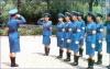 A group of Pyongyang Traffic Women preparing to kick some traffic butt