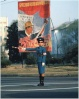 For decades, there have been two familiar sights in Pyongyang - propaganda posters and  trafficgirls. This picture from 1989.