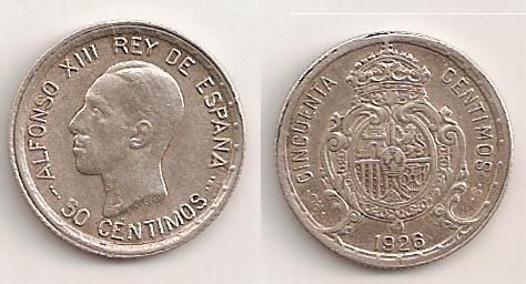 50 Céntimos de Alfonso XIII del 1926.