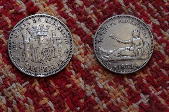 1 peseta 1869. snm. gobierno provisional plata bc bc+tirada 7.000.000