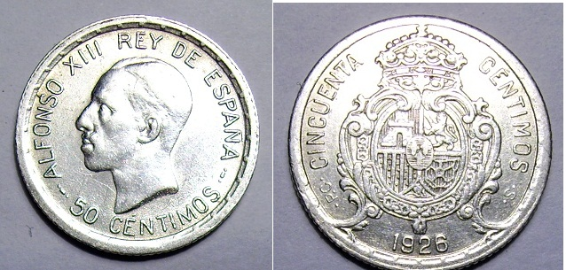 50 centi. 1926, Alfonso XIII