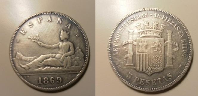 5 pesetas 1869