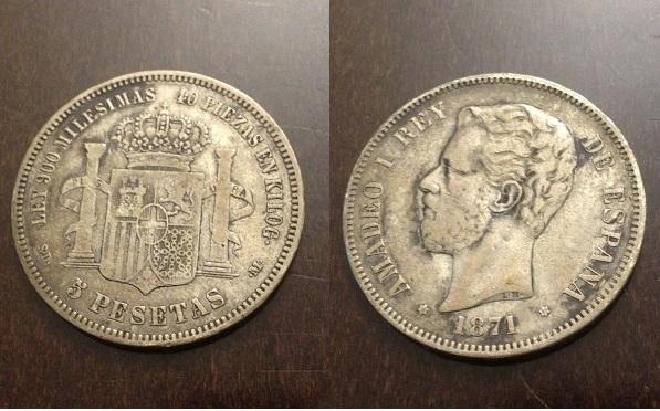 5 pesetas 1871 (18-71) amadeo i  sdm material plata 900 ceca madrid tirada 13.641.162.