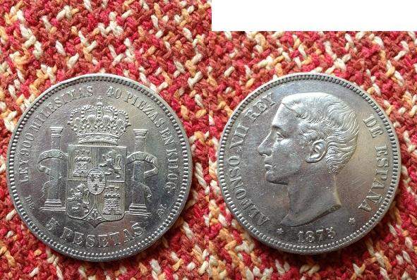 5 pesetas 1875 (18-75) d.e.m alfonso xii material plata 900 tirada 8.641.000
