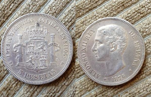 5 pesetas 1876 (18-76) de-m alfonso xii material plata 900 tirada 8.548.000