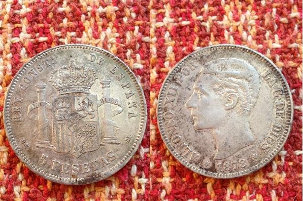5 pesetas 1878 (18-78) de-m alfonso xii  material plata 900 tirada 5.000.000.
