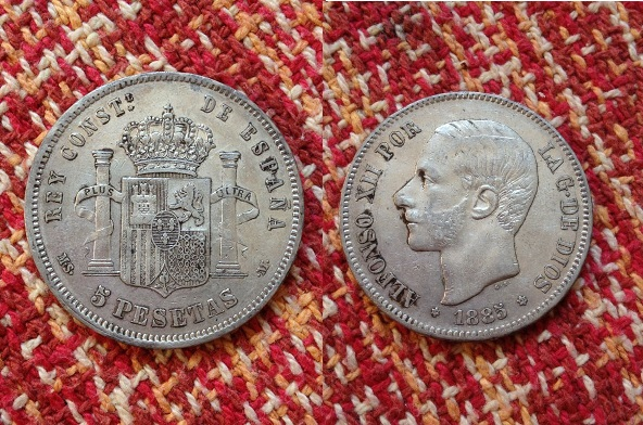 5 pesetas 1885 (18-85) ms-m alfonso xii material plata 900 ceca madrid tirada 3.144.451.