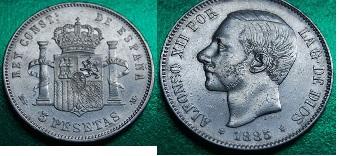 5 pesetas 1885 (18-87). msm. alfonso xii material plata 900 tirada 9.000.000.