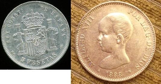 5 pesetas 1888 (18-88). mpm. alfonso xiii tirada 10.664.000 material plata 900 mbc