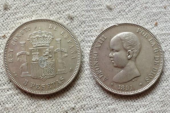 5 pesetas 1891 ( 18-91). pgm. alfonso xiii. material plata , peso 24,9 gramos