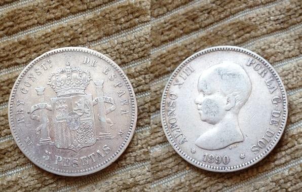 5 pesetas 1890 (18-90) mp-m alfonso xiii material plata 900 tirada 7.225.000