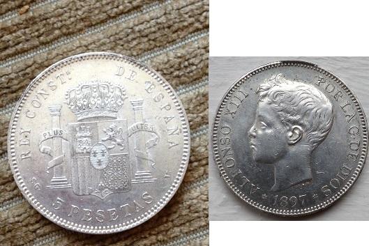 5 pesetas 1897 (18-97) sg-v alfonso xiii material plata 900 tirada 6.732.000.