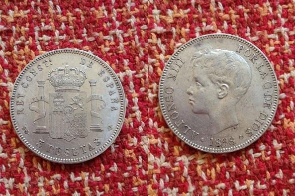 5 pesetas 1898 (18-98) sg-v alfonso xiii material plata 900 ceca madrid tirada 39.978.000.