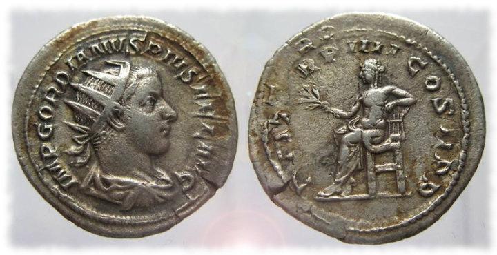 Antoniniano de Gordiano III IIII COS II PP.