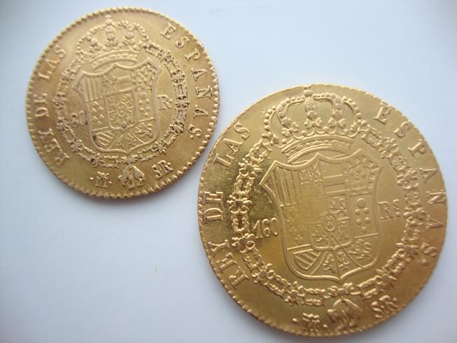 80 y 160 Reales de Fernando VII, ceca Madrid.