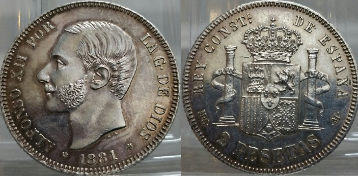 2 Pesetas Alfonso XII 1881
