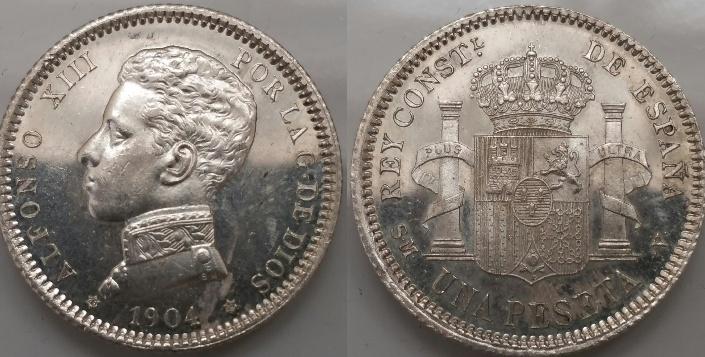1 Peseta Alfonso XIII 1904 (cero partido)