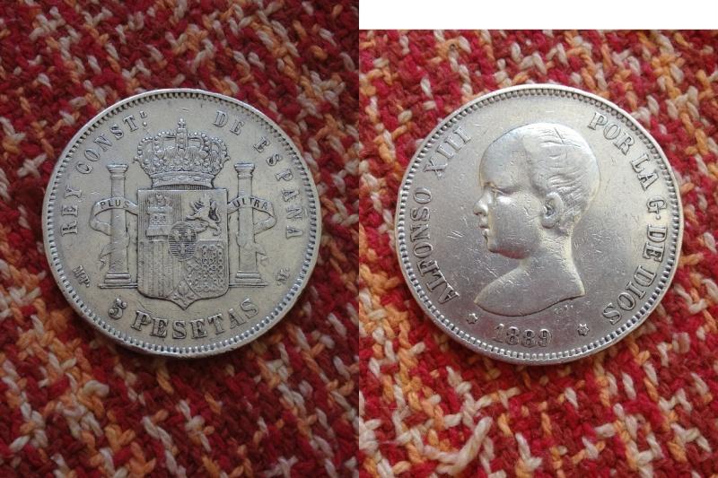 5 pesetas 1889 (18-89) mp-m material plata 900 ceca madrid tirada 4.681.000.