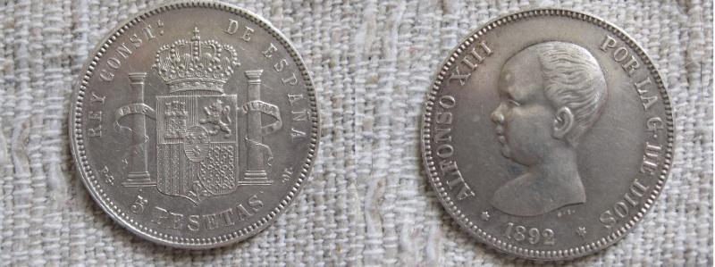 5 pesetas 1892 (-8-92) alfonso xiii pgm material plata 900 tirada 3.000.000