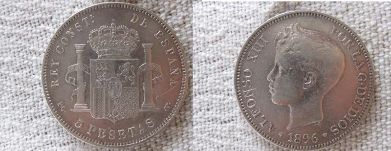 5 pesetas 1896 (18-96) pg-v alfonso xiii material plata 900 tirada  4.272.000