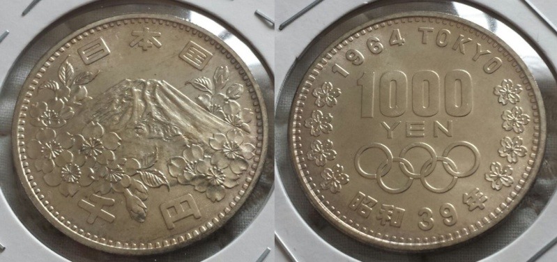 1.000 Yenes. Japón. JJ.OO Tokio 64. La primera moneda conmemorativa Japonesa de la Historia. Osaka. 1964. SC-.