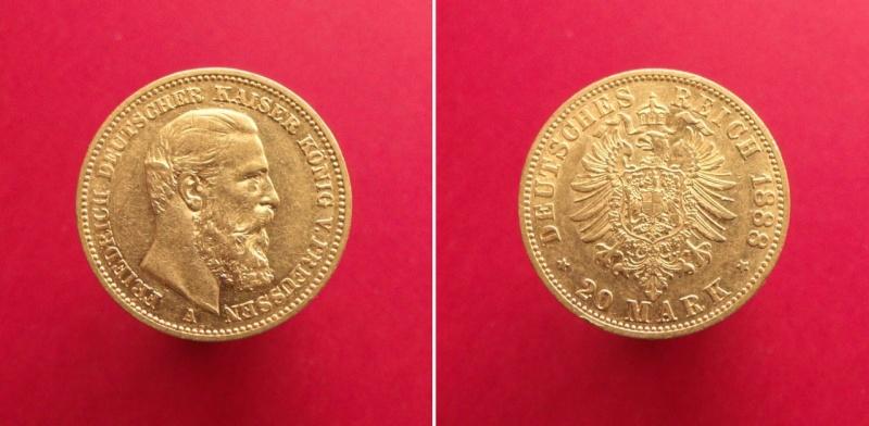 Alemania - Prusia, 20 Mark de 1888, Friedrich III