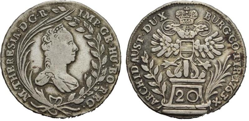 Austria, Maria Teresa 20 Kreuzer de 1763