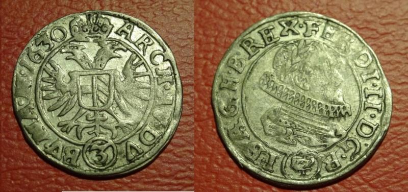 AUSTRIA - Fernando II - 3 Kreuzer - 1630 - Ceca de Praga