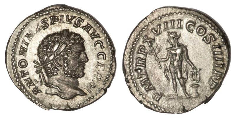 Denario de Caracalla P M TR P XVIII COS IIII P P.