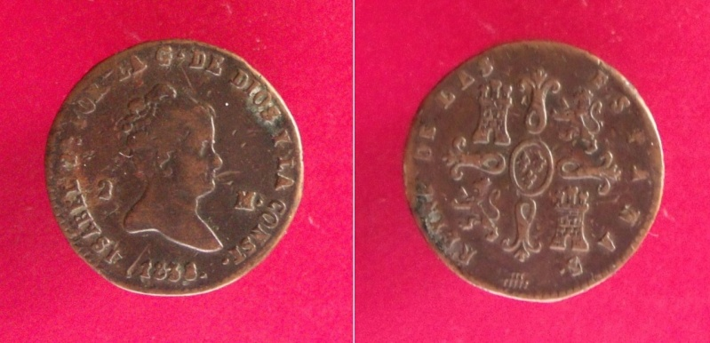 España. 1838 Isabel II, 2 maravedis