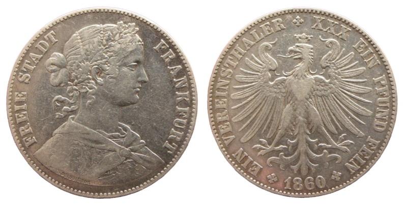 Alemania - Frankfurt. 1 Vereinstaler de 1860