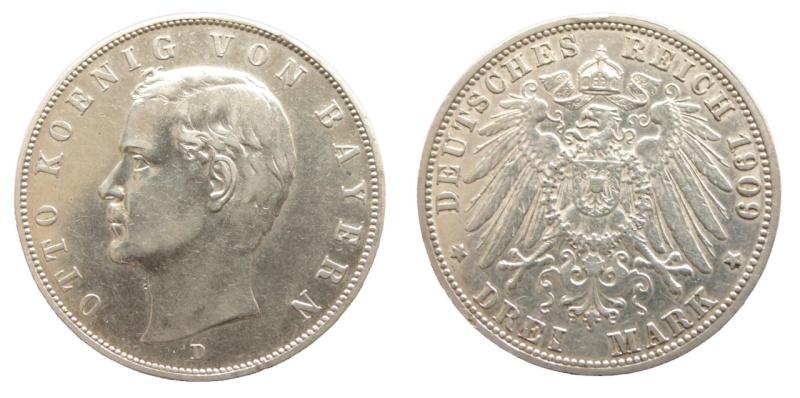 Alemania - Baviera, 3 Mark de 1909. Otto