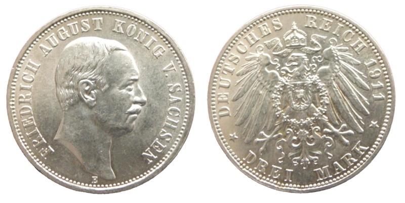 Alemania - Sajonia, 3 Mark de 1911. F. August III