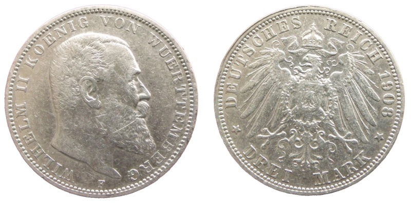 Alemania - Württemberg, 3 Mark de 1908. Wilhelm II
