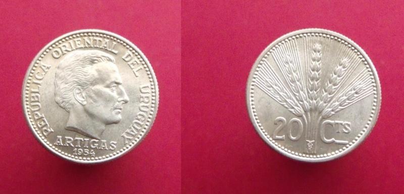 Uruguay, 20 centésimos de 1954
