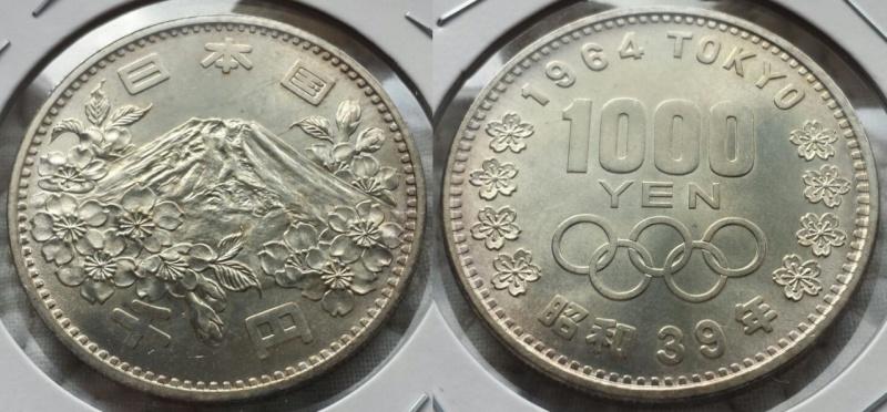 1.000 Yenes. Japón. JJ.OO Tokio 64. La primera moneda conmemorativa Japonesa de la Historia. Osaka. 1964. SC.