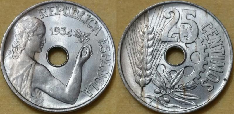 25 Céntimos II República España 1934