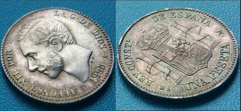 1 Peseta Alfonso XII 1885