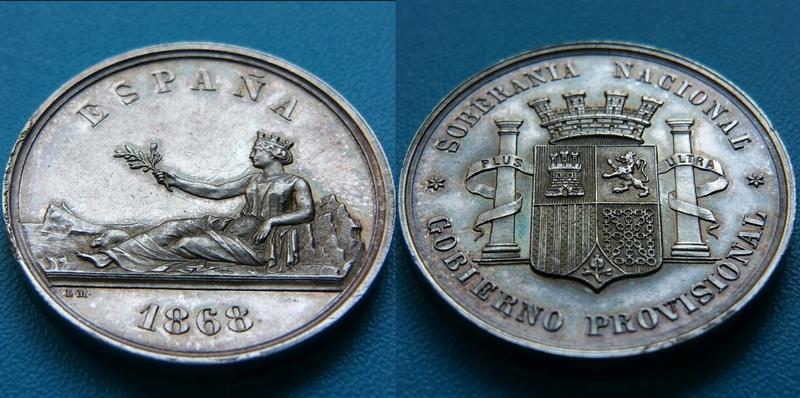 Medalla 1868 presentación de la peseta para el duro de 1869