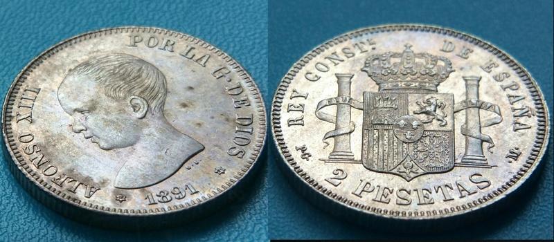 2 Pesetas Alfonso XIII 1891