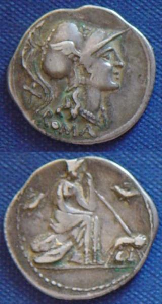Denario República anónimo-Roma con loba capitolina.