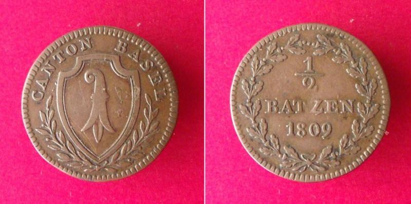 Suiza - Canton de Basel. ½ Batzen de 1809