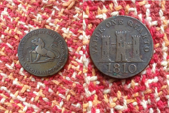 quarto, 1810 gibraltar moneda km#tn3.1,  1