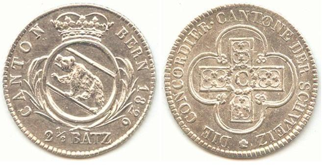 Suiza - Canton de Berna. 2½ Batzen de 1826